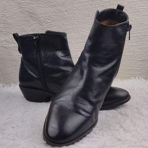 Coach Carmen Black Leather Low Heel Ankle Boots